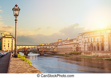 Cityscape skyline of Florence Italy with bridge Ponte Vecchio in Firenze