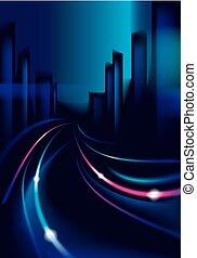 cityscape, skyline., verwischen, hintergrund, fahrzeuge, licht, landstraße, groß, vektor, silhouetten, stadt, gebäude, nighttime., bunte, effekt, spur, dunkel, hintergrund., schöne