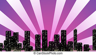 Cityscape Skyline with Sun Rays Overshadowing Buildings at...