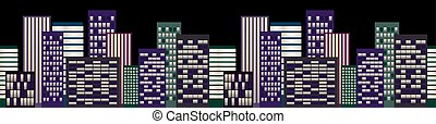 cityscape, skyscapers, nacht