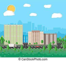 cityscape, sommer, ansicht., modern, stadt
