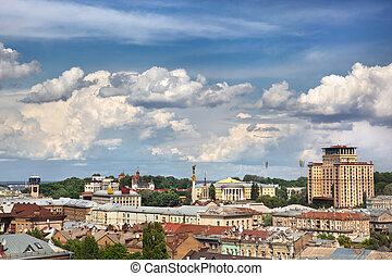 cityscape, sommer, kiev, zentrieren