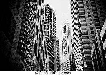cityscape, städtisch, wolkenkratzer, typisch