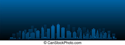 cityscape, stadt skyline, vektor, nacht