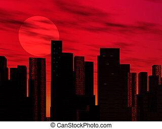 Cityscape - A cityscape at sunset.