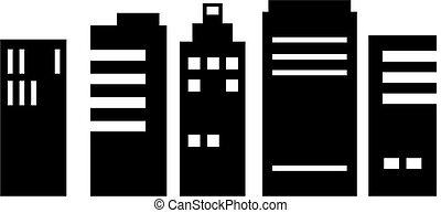 cityscape - isolated black and white cityscape skyscraper...