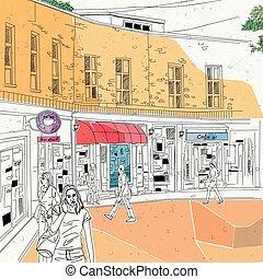 cityscape, store street scene