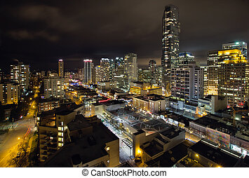 cityscape, strada, vancouver, robson, bc
