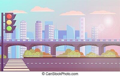 cityscape, strada, zebra, moderno, vuoto