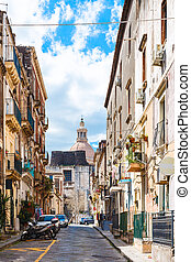 cityscape - street via Gesuiti in Catania city - cityscape -...