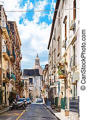 cityscape - street via Gesuiti in Catania city - cityscape -...