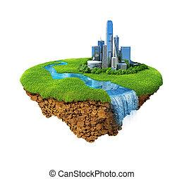 cityscape, su, uno, prato, con, fiume, waterfall., capriccio, isola, aria, isolated., dettagliato, suolo, in, il, base., concetto, di, successo, e, felicità, idilliaco, moderno, armonia, lifestyle.