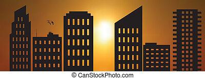 Cityscape sun