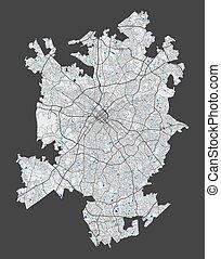 cityscape., szczegółowy, illustration., miasto, wolny, mapa...