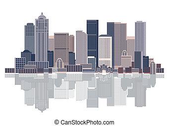 cityscape, tło, miejski, sztuka