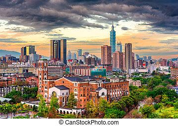 cityscape, taiwan, taipei, crepuscolo