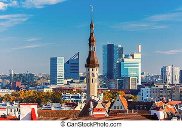 cityscape, tallinn, aéreo, estónia