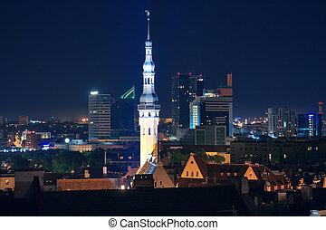 cityscape, tallinn, estónia, noturna