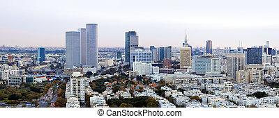 Cityscape - Tel Aviv skyline at sunset / Aerial view of Tel ...