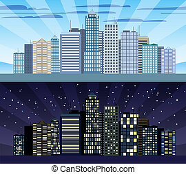 Cityscape tileable border day and night