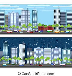 Cityscape tileable border