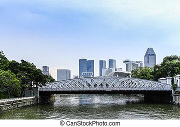 cityscape, time., singapur, mañana