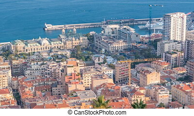 Cityscape timelapse of Monte Carlo, Monaco with roofs of...