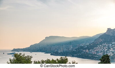 Cityscape timelapse of Monte Carlo, Monaco during summer...