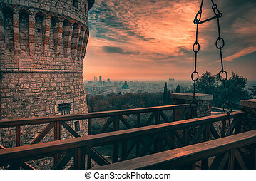 Cityscape to the castle