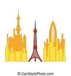 cityscape, torre, colorato, tokyo