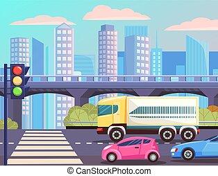 cityscape, trafic, rue, autoroute, route, lumières