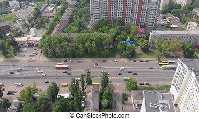 cityscape, trafic, voitures, aérien