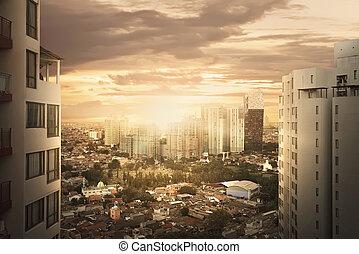cityscape, tramonto, quando, grattacielo