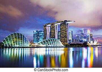 cityscape, tramonto, singapore