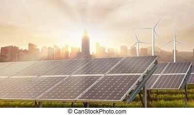cityscape, turbines, solaire, vent, town., énergie, panneaux...