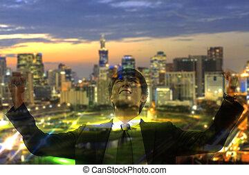 cityscape, uomo, affari, notte