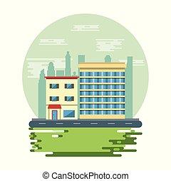 cityscape, urbain, bâtiments, paysage