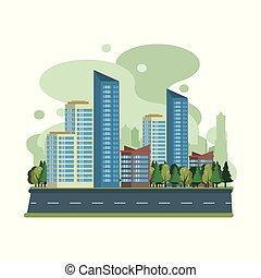 cityscape, urbain, bâtiments, scenary, vue