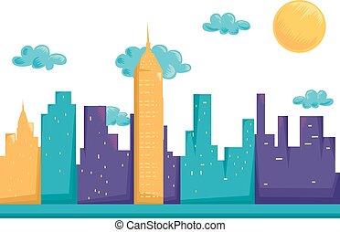 cityscape, urbain, bâtiments, tour