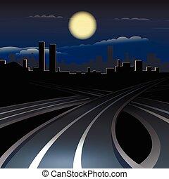 cityscape, urbain, nuit