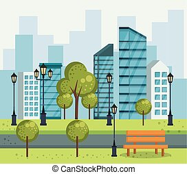 cityscape, urbain, parc, scène