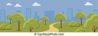 cityscape, urbain, park.