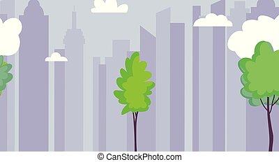 cityscape urban architecture trees sky