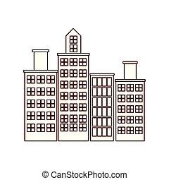 cityscape, urbano, edificios, escena, icono