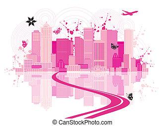 cityscape, városi, háttér, művészet