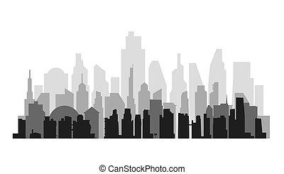 cityscape, vector, aéreo, perspectiva, plano de fondo