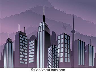 Cityscape - Cartoon city. Basic (linear) gradients used. No...