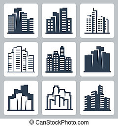 Cityscape vector icons set