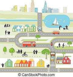 cityscape, -, vektor, illustration.eps, térkép, térkép, város
