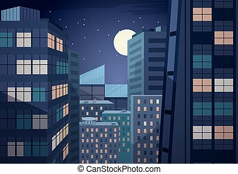 cityscape, vektor, nacht